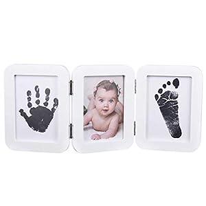 PartyKindom Baby Fußabdruck Handabdruck Kit mit Bilderrahmen – Baby 100% Sicher Ungiftiges Stempelkissen und 6 Abdruckkarte für Buben & Mädchen – Andenken Dekorationen – Geschenk für Baby Party