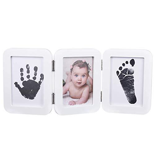 Kit Tine (PartyKindom Baby Fußabdruck Handabdruck Kit mit Bilderrahmen - Baby 100% Sicher Ungiftiges Stempelkissen und 6 Abdruckkarte für Buben & Mädchen - Andenken Dekorationen - Geschenk für Baby Party)