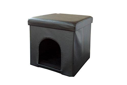 SoBuy® FSS24-SCH Sitzkasten, Sitzhocker, Sitztruhe, Sitzbox, Katzenhütte, Katzenhaus, Hundehaus, Hundehütte, Deckel abnehmbar, zusammenfaltbar, (Schwarz)