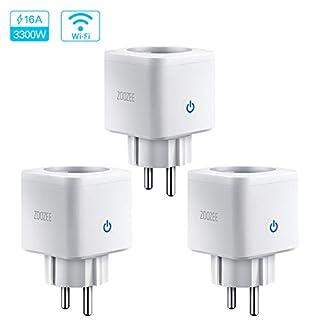 WLAN Smart Steckdose Intelligente Plug 16A Wifi Mini Stecker fernbedienbar mit Timer Funktion App Steuerung funktioniert Zoozee mit Amazon Alexa Google Home und IFTTT Control auf 2.4 GHz (3 Stück)