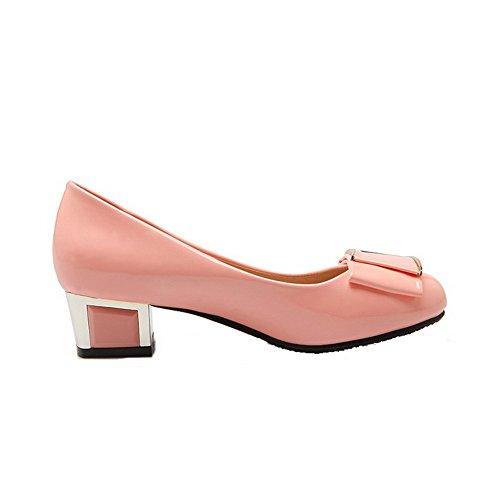 AllhqFashion Damen Pu Leder Niedriger Absatz Rund Zehe Rein Ziehen Auf Pumps Schuhe Pink
