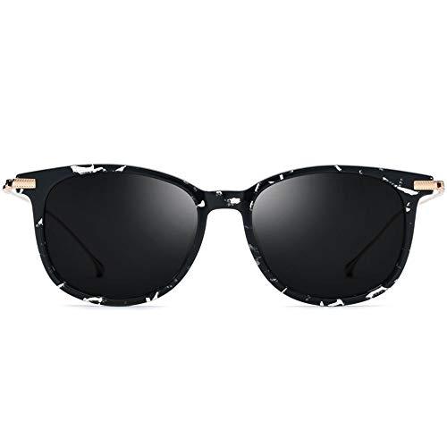 WUJIEXIAN-JXL Gläser New B Titanium Polarized Sonnenbrillen Herren Radical Light Fashion Brillen Distaff Schwarz-Weiß-Muster Rahmen Tinte Grau Objektiv UV400 Schutz Sonnenschutz -