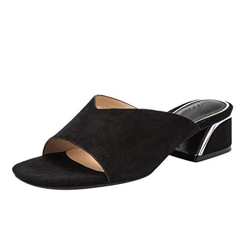 (Sandaletten für Damen/Dorical Frauen High Heels Sandalen Plateau Offen Pantoffeln Outdoor Slipper mit 5 cm Absatz Casual Sommer Abend Schuhe Flandell 35-41EU(Schwarz,38 EU))
