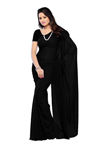 Sse Women's Faux Georgette Saree With Blouse Piece (Plain_28_Black)