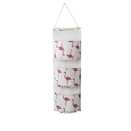 1X Toruiwa Aufbewahrungstasche Hängenden Tasche Hänge Organizer Wand Häng Flamingo Aufbewahrungstasche 3-Tasche (Rosa) -