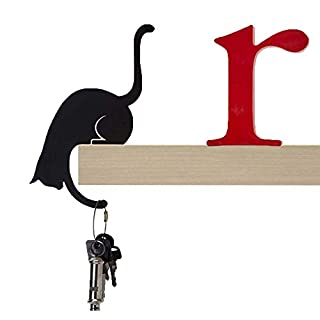 Artori Design Louis' Paw | Black Metal Cat | Decorative Balance Hanger | Hook Hanger