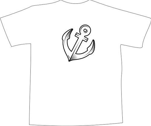 T-Shirt E379 Schönes T-Shirt mit farbigem Brustaufdruck - Logo / Grafik - minimalistisches Design - großer Anker im Carbonstyle Schwarz