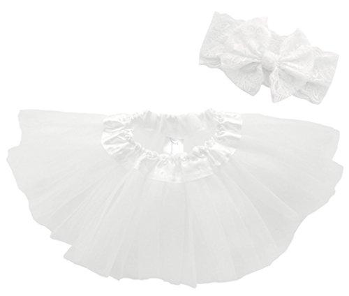 Dancina Baby Tüllrock Tutu Classic Set m. passendem Haarband Weiß Classic 6-23 (Ariel Machen Sie Kostüm Ein)