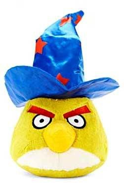 Angry Birds HALLOWEEN 5 Inch MINI Plush with Sound Figure Yellow Bird with Wizard Hat by Commonwealth Toys