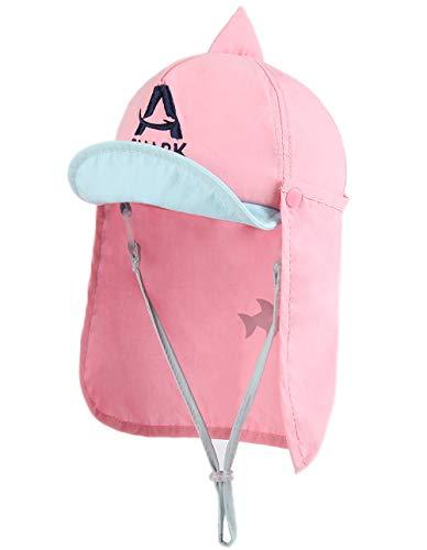 Rosa Kinder-sonnenhut (Foruhoo Baby Mütze UV-Schutz 50 mit Kordelzug for Jungen, Breite Krempe Sommerhut Sonnenhut (52, hai rosa))