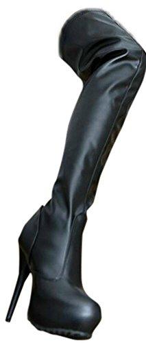 EROGANCE Kunstleder Plateau High Heels Overknee Stiefel schwarz EU 36 - 46 / A4123 Black