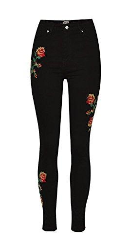 iRachel Damen Jeanshose 3D Blumenhandwerk Skinny Hose Capri Stickerei Hohe Taille Jeans (Denim Skinny Capris)
