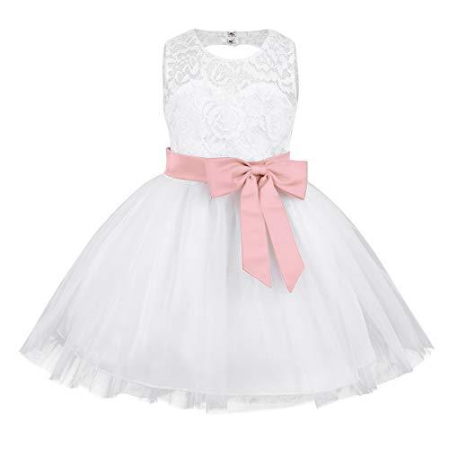 Agoky Baby Festliche Kleidung zur Taufe Hochzeit Blumenmädchen Kleider Party Prinzessin Brautjungfer Festzug Tutu Tüll-Kleid Pearl Pink 80-86/12-18 Monate