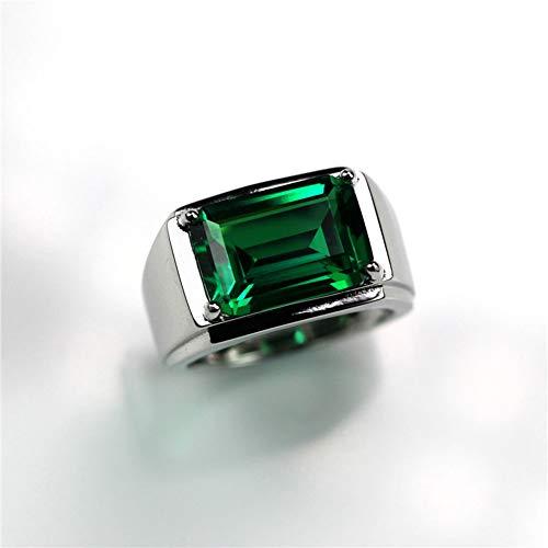 KTT 925 Sterling Silber Perfekter Schnitt Smaragd atemberaubende Hochzeit Verlobungsring Männer
