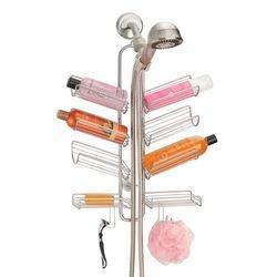 mDesign Duschablage zum Hängen – praktisches Duschregal ohne Bohren aus Metall – 8 Körbe und 4 Haken zur Aufbewahrung von Duschzubehör – silberfarben