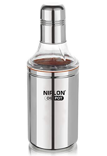 Nirlon Stainless Steel Oil Pot, 1 Litre, Silver (L3-Y48Q-35EF)
