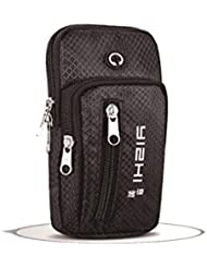 HUIJUNWENTI Bolso móvil para el Brazo, Unisex Fitness Arm, Bolso Deportivo, Bolso para la muñeca, Bolso móvil para el Brazo, 18 * 10 cm Portátil Ajustable (Color : Black)