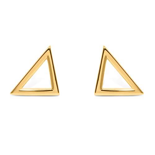 prettique® Ohrringe Damen aus edlem 925 Sterlingsilber rhodiniert - Anlaufschutz & Nickelfrei - Designed in Germany - Ohrstecker mit minimalistischem V-förmig - 1,2cm breite Ohrstecker