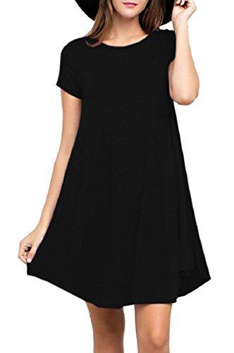 YYWING Women's short long Sleeve Casual Loose T-Shirt Dress