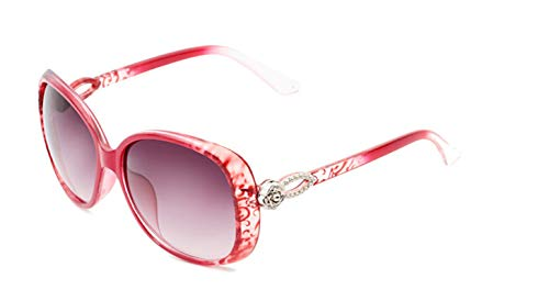 KnSam Polarisierte UV400 Schutz Ultraleicht Rahmen Teardrop Blume Damen Rot (Muster) Sonnenbrillen Fahrerbrille