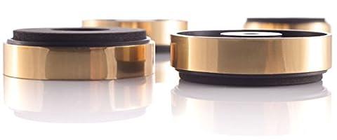 Hifi Lab Pieds 40x11 pour appareils – Kit de 4 pieds dorés absorbeurs audio absorbeurs de vibrations