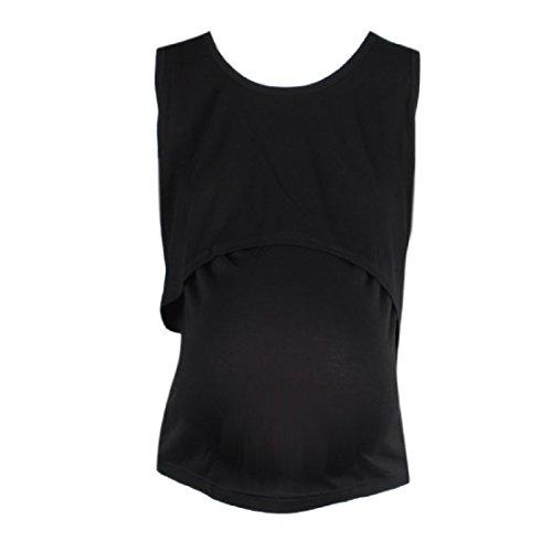 Tongshi Embarazada ropa de maternidad de enfermería Tops La lactancia materna del chaleco de la camiseta (tamaño libre, Negro)