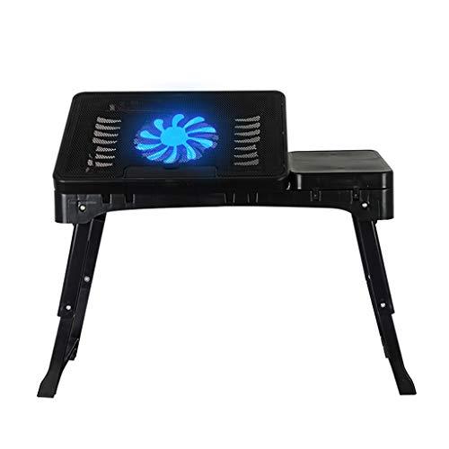 Nbgy computer table tavolo pieghevole, supporto per laptop, tavolo portatile, vassoio per laptop, tavolo medico, con ventola di raffreddamento, 2 colori, 53 * 27.5 * (24-37.5) cm (colore : nero)
