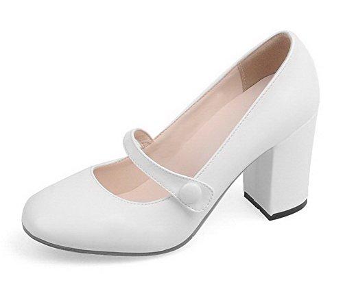 AllhqFashion Femme Rond à Talon Haut Verni Couleur Unie Boucle Chaussures Légeres Blanc