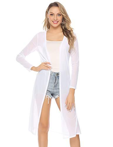 Abollria Damen Sommer Cardigan Leichte Lange Jacke Transparente Offene Strickjacke mit Seitenschlitze Weiße Leichte Jacke