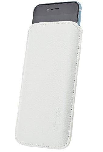 iPhone 8 / iPhone 7 Original Suncase® Book-Style (Slim-Fit) Ledertasche Leder Etui Tasche Handytasche Schutzhülle Case Hülle (mit Standfunktion und Kartenfach) antik-rot vollnarbig-weiss