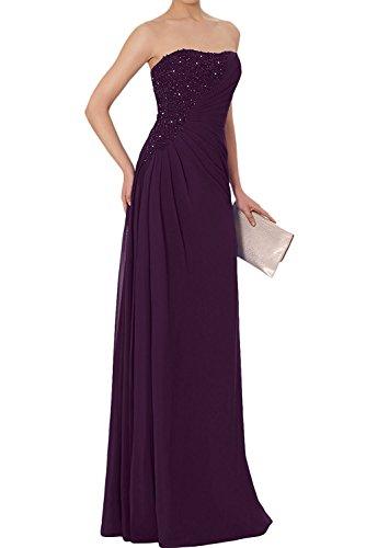 La_Marie Braut Elegant Chiffon lang Spitze Brautmutterkleider Abendkleider Partykleider Etuikleider Neu Traube