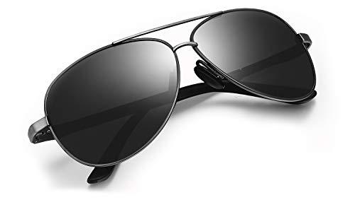 WHCREAT Herren Autofahren Polarisierte Sonnenbrille Ultraleichter Al-Mg-Metallrahmen mit Federscharnieren - Metallisch Grau Rahmen Schwarze Linse