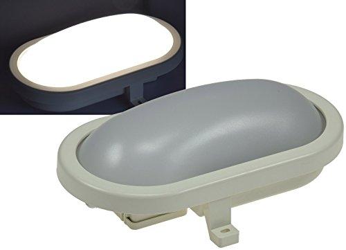 LED Oval-Armatur IP44 Feuchtraum-Leuchte, 12W, 1000lm, 4200K / neutralweiß Leuchte für Keller Garage Carport