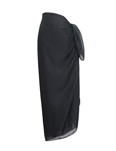 DiaryLook Plus Size Sarong Frauen Beachwear Volltonfarbe Strand vertuschen Rock Kleid Geschenk für Feiertage Schwarz -