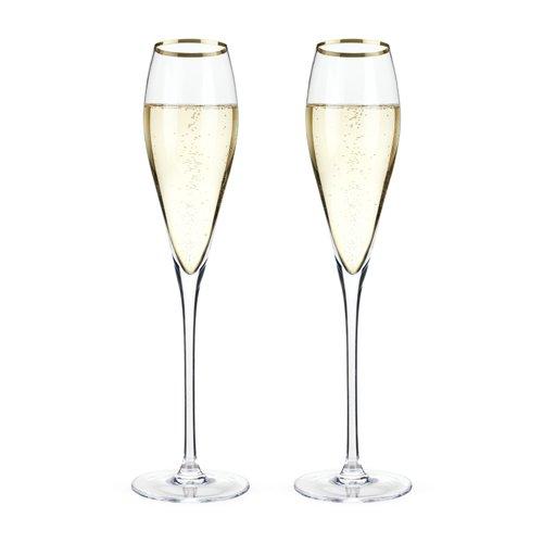 Viski Belmont Kristall Champagner Flöten, Mehrfarbig, 12x 20x 25cm