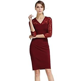 buenos ninos Damen Kleid, Durchgehend Opaque Gr. XL, weinrot