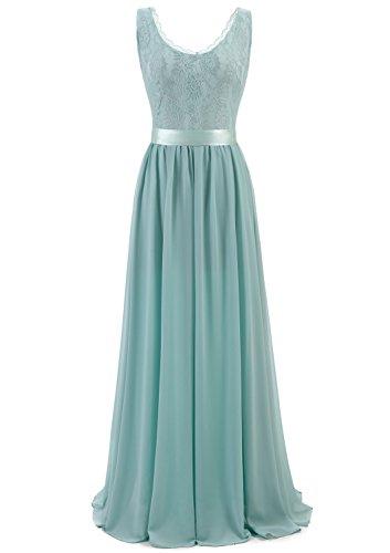 Timormode TM10168 Chiffon Kleid mit Spitzen Maxikleid Lang Brautjungfernkleid Ärmellos Blau M (Ärmelloses Blaues Kleid)