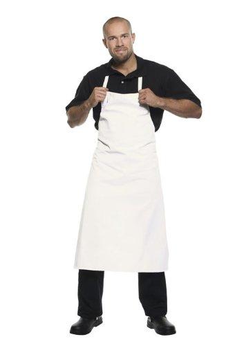 Pflegeleichte Latzschürze Basic für Bistro + Gastronomie + Bar + Kellner + Service, Farbe:White;Größe:75 x 100 cm 75 x 100 cm,White