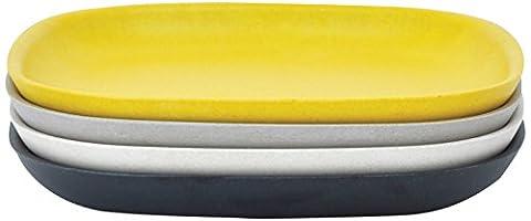 Biobu by Ekobo 34765Gusto Petit Assiettes plates Set 1, 23x 23x 2,5cm, noir/gris/blanc/Citron