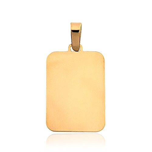 Gioiello Italiano - Pendente a forma rettangolare oro giallo 14kt - Rettangolare Pendente A Forma