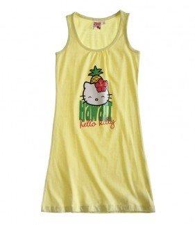 Hello Kitty Kleid mit verschiedenen Trägern im Sommerlook, 3 Varianten, 4 Größen, Farbe:gelb, Größe:128 (Hello Kitty-kleid Für Frauen)