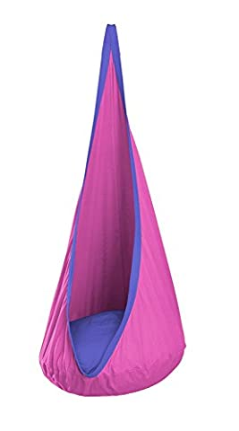 Lugii Cube Coton à suspendre Nest Swing Sac de couchage Hamac pour bébé avec coussin gonflable enfant balançoire Chaise pour enfants, rose