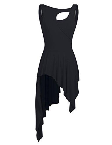 YiZYiF Damen Ballett Trikot Ballettanzug Tanz-Kleider Gymnastikanzug Turnanzug Leotard mit Asymmetrisch Rock Schwarz Large