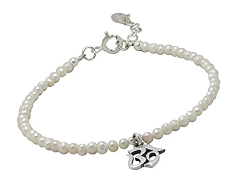 AG2AU Sterling Silver OM AUM Charm and Freshwater Pearl