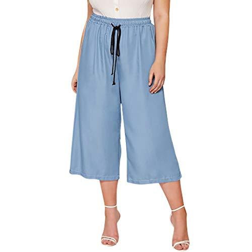 aggy Haremshose,Beiläufige lose Hosen Normallack lace-up Frauen Lose Tasche Plus Size Hosen Breites Bein Schnürung Freizeithosen XL-4XL ()