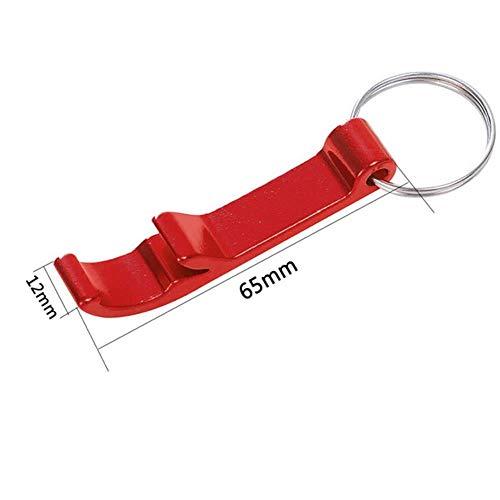 DACCU Tragbare 4 in 1 Flaschenöffner Schlüsselring-Kette Mini Bier Flaschenöffner Aluminiumlegierung Küche Keychain Metall Bier-Stab-Werkzeug, rot