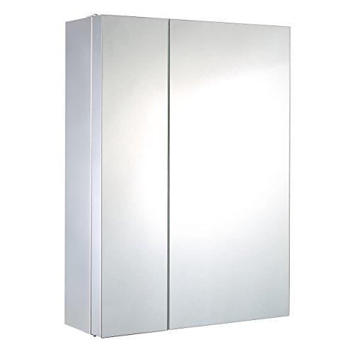 Harima - Armario grande esquinero de doble puerta, con espejo, 2 amplios y 3 pequeños estantes, montado en pared, estructura de acero inoxidable