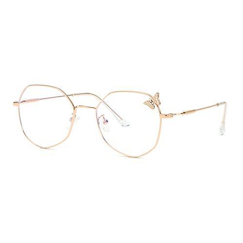 Hohl Schmetterling Brillengestell Damen Retro Polygon Flachspiegel Anti-Blau Brillengestell,Rosegold,133MM