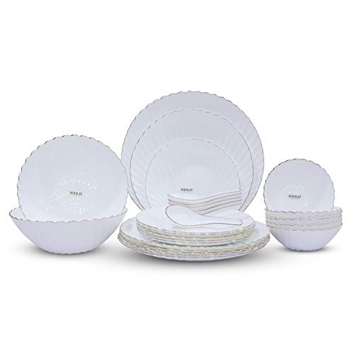 Soogo Opalware Dinner Set, 27-Pieces, Gold Rim