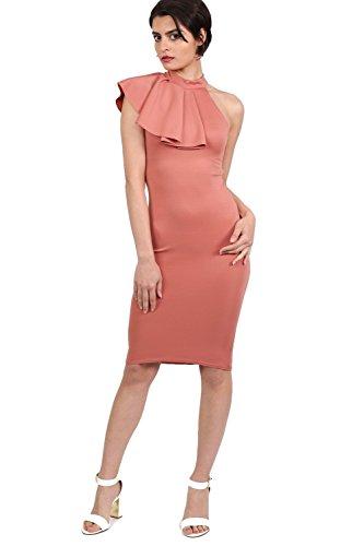 PILOT® Hochhalskrause Detail bodycon Midi-Kleid Koralle